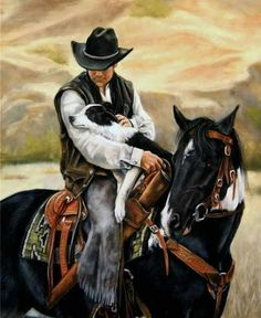 All A Cowboy Needs by Victoria Wilson-Schultz | Cowboy with his horse and dog