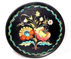 Vintage Metal Tray Black Tole Painted Flower by VintagePennyLane