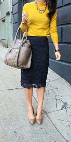 I love the lace skirt! I love that it's black but maybe a navy blue or red blouse?