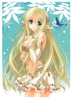 Elven princess with long blond hair, blue eyes, & white outfit by manga artist Carnelian.