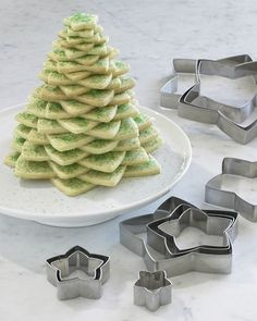 Christmas tree out of star cookies or cereal treats or brownies or....