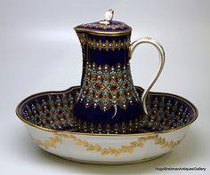 Porcelain Sevres Style Pitcher and Wash Basin Bowl | eBay