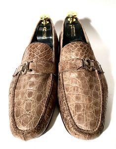5a31e98ccb81 (eBay Ad) Brioni Light-Brown Crocodile Leather Shoes Size 43