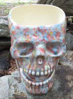 Skull, planter, succulent planter, head planter, ceramic, Bright, multi color, red, blue, yellow, drain hole, unusual, house plant by muddyme on Etsy