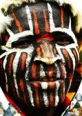 Art : AFRICA, KENYA, NAKURU, NOVEMBER 9: Portrait of a Kenyan warrior with traditionally painted face, review of daily life of local people, near to Lake Nakuru National Park Reserve