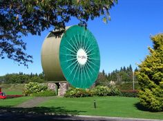 Introducing the Giant Kiwifruit    This giant kiwi fruit is in two colours and is part of the Kiwi360 complex.   Location: Te Puke, Bay of Plenty.