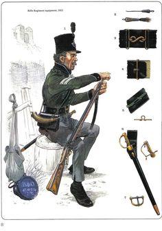 British rifleman, 1812. Military Guns, Military Art, Military History, Military Uniforms, British Army Uniform, British Uniforms, Uniform Insignia, Battle Of Waterloo, War Of 1812