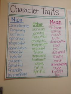 Character Trait Anchor Chart-to get students thinking beyond the terms mean and nice
