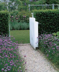 White Gate, Gravel Path, Herbs, Wildflowers