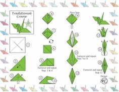 Semi easy paper crane instructions and tips for sustainable origami in the classroom (you can use magazine pages instead of expensive origami paper)
