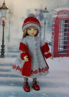 NO pattern, just Nice to look at Knitting Dolls Clothes, Crochet Doll Clothes, Knitted Dolls, Doll Clothes Patterns, Girl Doll Clothes, Doll Patterns, Girl Dolls, Baby Dolls, Knitting For Kids