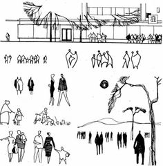 Architecture People, Architecture Drawings, Masterplan Architecture, Landscape Sketch, Landscape Drawings, Figure Sketching, Urban Sketching, Sketches Of People, Drawing People