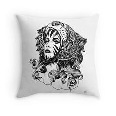 'Tigress' Throw Pillow by BioWorkZ Framed Prints, Canvas Prints, Art Prints, Black And White Pillows, Glossier Stickers, Art Boards, Duvet Covers, Iphone Cases, Throw Pillows