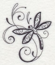 Inky Dragonfly and Swirls 2 design (M3949) from www.Emblibrary.com