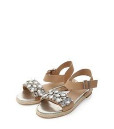 Stone Leather Embellished Espadrille Sandals - Sandals - Shoe Gallery   New Look