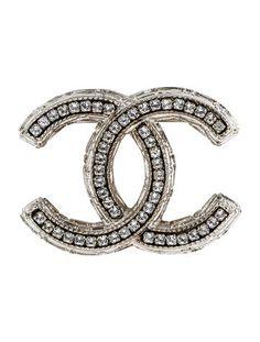 Chanel Crystal Logo Brooch