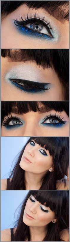 Gorgous Cobalt Blue makeup by Linda Hallbert  Bold fringes are always complemented by strong eyes, we love these fresh eyes.  Www.ukhairdressers.com