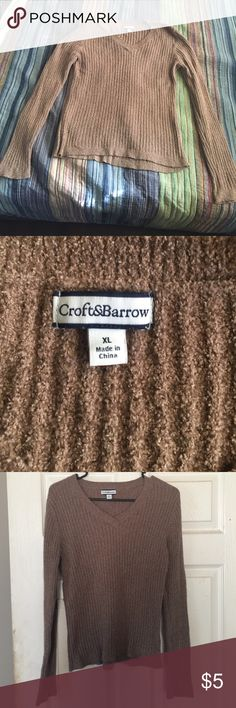 Sweater Brown sweater. Long sleeves. 70 % Nylon. 30% Polyester. FITS SMALL TO ACTUAL SIZE. Soft and cozy without being bulky and hot. Fits more like a large. croft & barrow Sweaters V-Necks