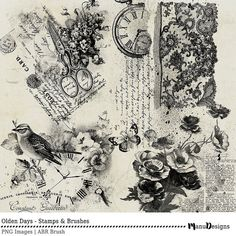 Digital Scrapbook, Stamps, Brushes, Vintage, Heritage, Shabby Elegance, grunge, shabby, chic, Photoshop Brush, - Olden Days
