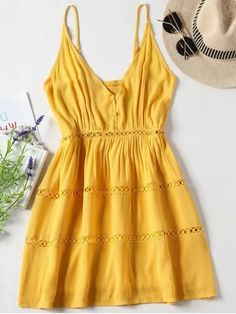 Womens Cute Yellow Summer A-Line Mini Dress With Spaghetti Straps. This womens yellow sundress in a cute a-line silhouette is one of this summers on trend styles when it comes to cute yellow summer dresses in a mini length. Cute Yellow Dresses, Yellow Sundress, Yellow Dress Summer, Nice Dresses, Casual Dresses, Modest Dresses, Cute Summer Outfits, Summer Dresses For Women, Mellow Yellow