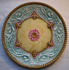 Old French Polychrome Majolica Plate Flower Star Acanthes   eBay