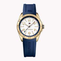 Golden blue Tommy Watch #Tommyhilfiger