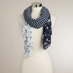 One of my favorite discoveries at WorldMarket.com  Blue Stripe and Bird  Scarf. aa941f63f