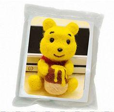 WellieSTR Natural Wool Roving Needlecrafts Needle Felted Felting Character Starter Kit: Cute Yellow Winnie