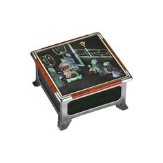 Cartier - ANTIQUE PIECES - TABLE BOX  Silver, silver-gilt, cedar wood, burgauté lacquer (mother-of-pearl), nephrite, coral, ruby, emerald, diamonds