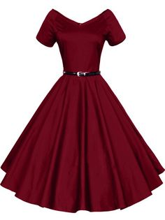 iLover Women 1950s V-Neck Vintage Rockabilly Swing Evening Party Dress (WineRed, Medium)