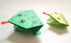 Origami frogs to make for or with your kids for Passover.  They even have little red tongues! #crafts