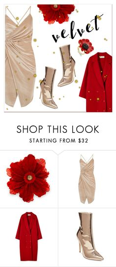 """""""Velvet Dress"""" by groove-muffin ❤ liked on Polyvore featuring Gucci, Boohoo, Steve Madden and Kate Spade"""