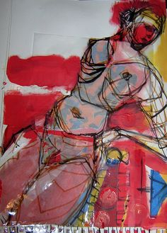 mixed media collage on paper by Kat Ostrow