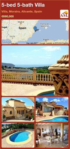 Villa for Sale in Villa, Moraira, Alicante, Spain with 5 bedrooms, 5 bathrooms - A Spanish Life Marble Stairs, Automatic Gate, Moraira, Alicante Spain, Grand Entrance, Ceiling Beams, Double Bedroom, Spanish Style, Private Pool