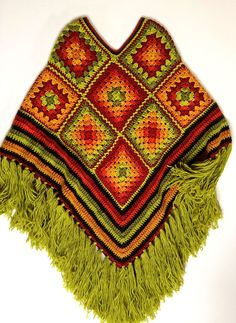 Poncho Crochet poncho Granny-squares Fringed cover up Size plus wear Comfy Cozy poncho Festive wear Autumn colors Unisex wear To Order Poncho Crochet poncho Granny-squares Fringed cover up Size image 0 Crochet Poncho Patterns, Crochet Coat, Crochet Gloves, Doily Patterns, Crochet Granny, Crochet Shawl, Crochet Phone Cover, Granny Square Sweater, Hippie Crochet