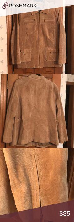 Alfani Suede Jacket 3X Alfani Woman suede zip up jacket.  Each sleeve has a zipper if you need more room.  Nice details. Alfani Jackets & Coats