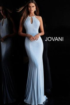 6741399e35 jovani Light Blue Beaded Key Hole Neck Jersey Prom Dress 67101 Fitted Prom  Dresses