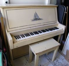Beautiful vintage upright piano. (if only)
