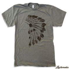 Mens Native American HEADDRESS american apparel t by ZenThreads, $18.00