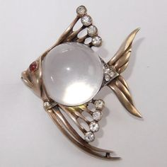 VINTAGE-STERLING-SILVER-RHINESTONE-LUCITE-JELLY-BELLY-ANGELFISH-FISH-PIN