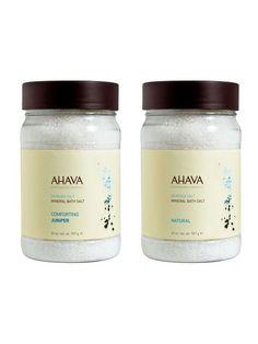 Hydrating Bath Salt Duo (Juniper + Natural) by AHAVA at Gilt