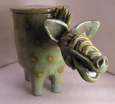 DRAGON-OF-RHODES-FOLK-POT-Animal-Face-Jug-Spice-Jar-Effigy-Jar