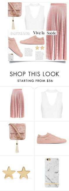 """Pink Suede"" by sonny-m ❤ liked on Polyvore featuring Topshop, Brother Vellies, Common Projects, Jennifer Meyer Jewelry and Richmond & Finch"