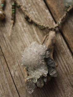 quartz crystal cluster hemp beaded necklace tibetan by nearlylost