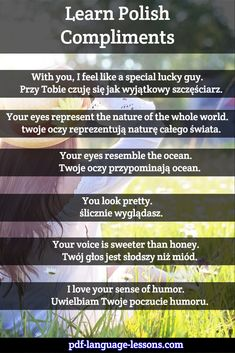 Want to tell a Polish girl she is beautiful? Learn Polish COMPLIMENTS: romantic words and phrases. Inside: audio lesson, pronunciations and translations. Poland Culture, Learn Polish, Polish Words, Polish Memes, Polish Language, Romantic Words, You Look Pretty, Language Lessons, Polish Recipes