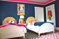 Fabulous 2 color walls, upholstered headboards, and round stenciled pillows!- My Old Country House
