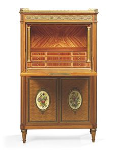 date unspecified A FINE FRENCH ORMOLU AND SEVRES PORCELAIN-MOUNTED MAHOGANY AND SATINWOOD SECRETAIRE A ABBATANT BY KRIEGER, PARIS, LATE 19TH CENTURY  Price realised GBP 15,000