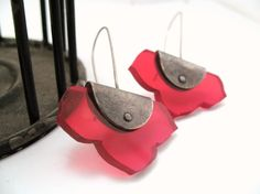 Pinned Kikyo Earrings - acrylic and sterling silver - Your choice of colors. $44.00, via Etsy.
