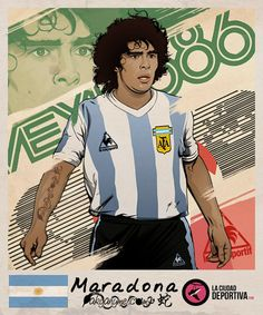 Diego Maradona of Argentina wallpaper. Retro Football, Football Design, Football Art, Soccer World, World Football, Maradona Tattoo, History Of Soccer, Mexico 86, Fifa