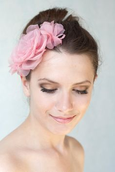 Bridal silk flowers hair comb, pink hair flowers, pink silk headpiece, bridesmaid hair accessory via Etsy